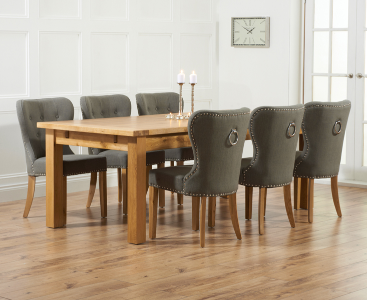 Brilliant Normandy 220Cm Solid Oak Extending Dining Table With Knightsbridge Fabric Chairs Squirreltailoven Fun Painted Chair Ideas Images Squirreltailovenorg