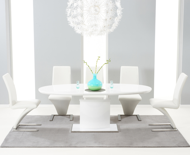 da83f1d7f0aa Santana 160cm White High Gloss Extending Pedestal Dining Table with  Hampstead Z Chairs