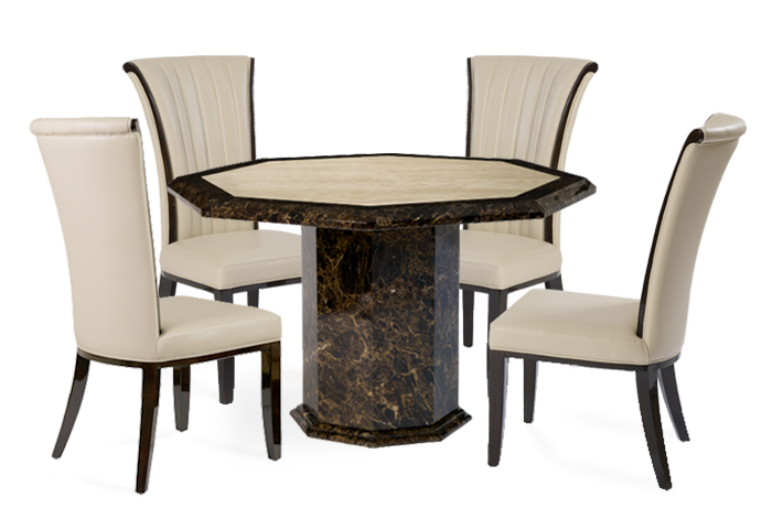 Tenore Octagonal Marble Effect Dining Table With Alpine Chairs