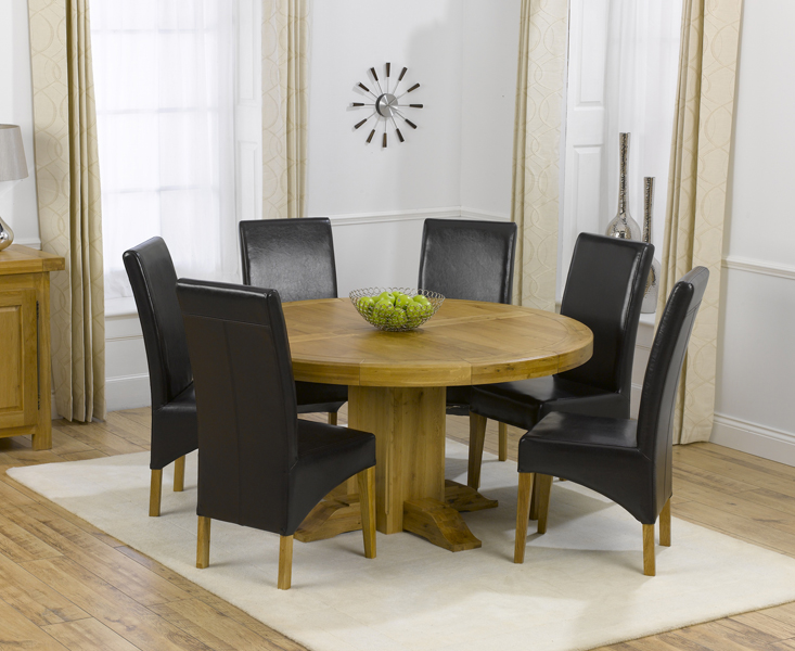 4eb7fdb666117 Torino 150cm Solid Oak Round Pedestal Dining Table with Cannes Chairs