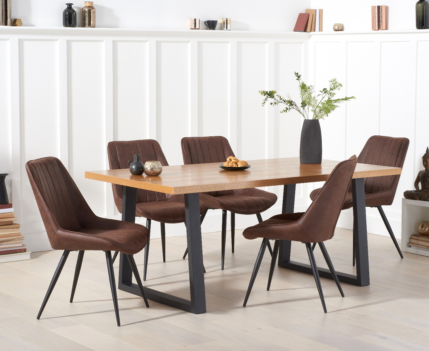 Urban 180cm Dining Table With Marcel Antique Chairs