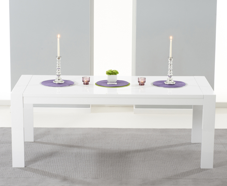 Venice 200cm White High Gloss Extending Dining Table