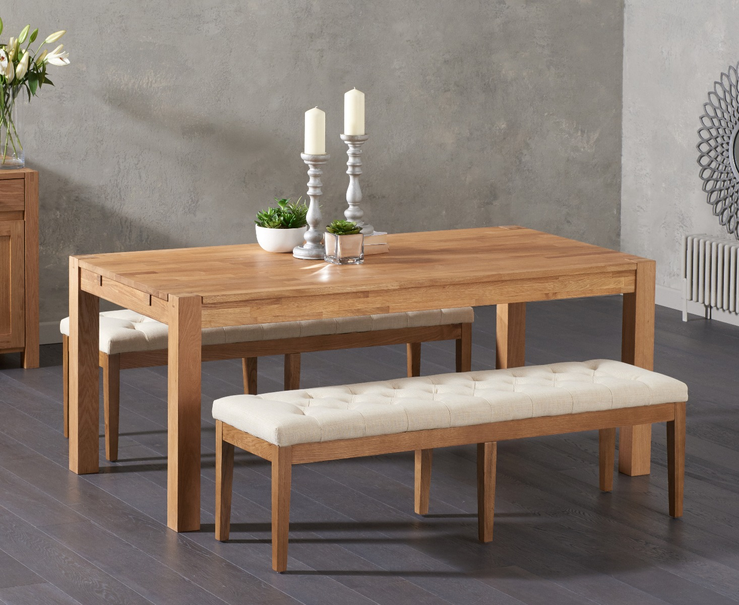 Admirable Verona 180Cm Solid Oak Dining Table With Camille Cream Fabric Benches Ibusinesslaw Wood Chair Design Ideas Ibusinesslaworg