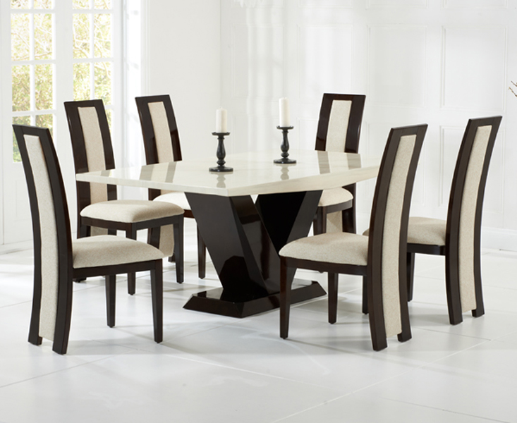 Verbier 180cm Cream And Brown V Pedestal Marble Table With Raphael Chairs