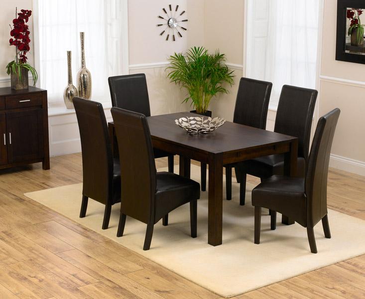 & Verona 150cm Dark Solid Oak Dining Table with Dakota Chairs